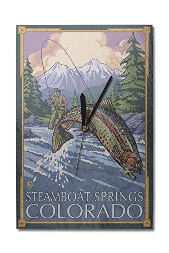 Lantern Press Steamboat Springs, Colorado - Fisherman (10x15 Wood Wall Clock, Decor Ready to Hang)