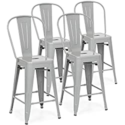 "Best Choice Products 24"" Set of 4 High Backrest Industrial Metal Counter Height Bar Stools (Silver)"