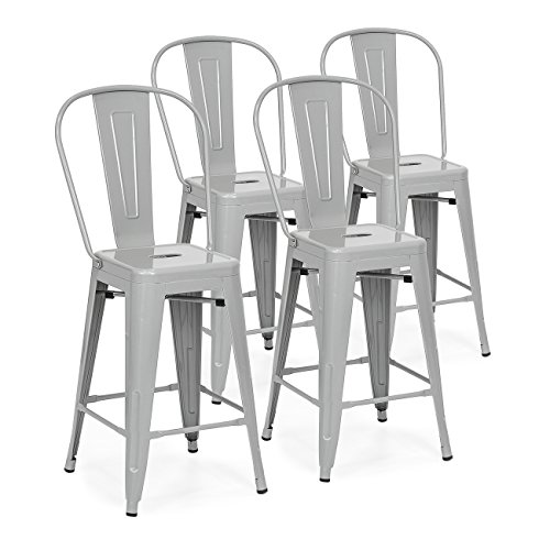 - Best Choice Products 24in Set of 4 High Backrest Industrial Metal Counter Height Stools - Silver