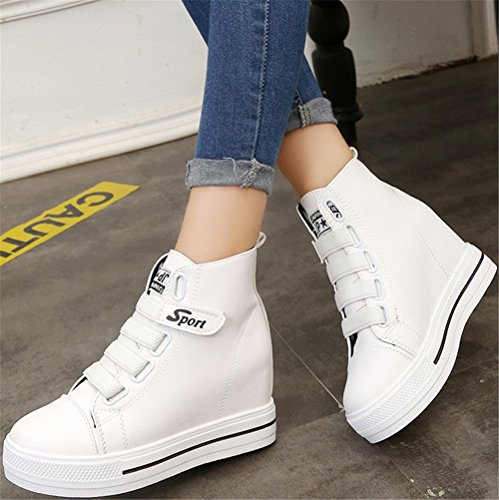 SATUKI Hidden Wedges Heel Fashion Sneakers For Women, Pleather Platform Lace Up Casual Sports Shoes White