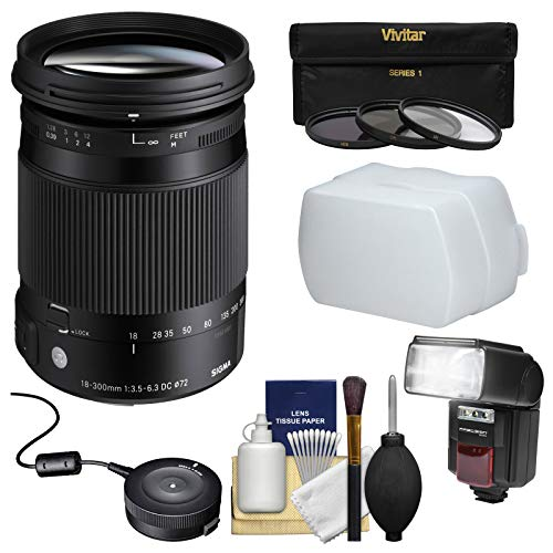 Sigma 18-300mm f/3.5-6.3 Contemporary DC Macro OS HSM Zoom Lens with USB Dock + 3 Filters + Flash + Diffuser + Kit for Canon EOS DSLR Cameras by Sigma (Image #8)