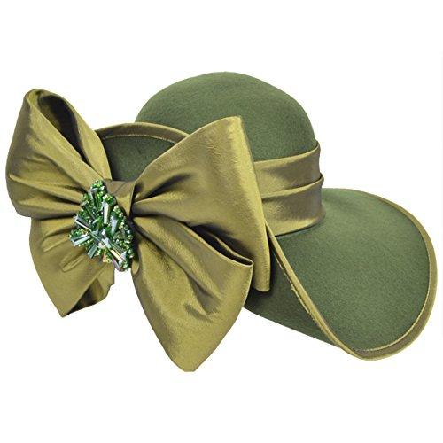 FORBUSITE Women Wool Felt Hats Church Dress Hat for Winter, Vintage Handmade Olive Green