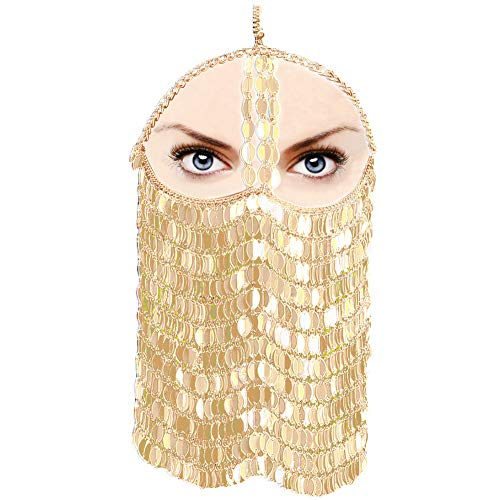 CCbodily Sequins Masquerade Mask Chain for Women - Venetian Halloween Mardi Gras Masquerade Mask Face Chain Jewelry for Women Nightclub Party and Beach Masquerade Mask (Gold)