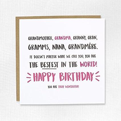 Abuela, Gran, abuela, abuela o nana feliz cumpleaños tarjeta ...