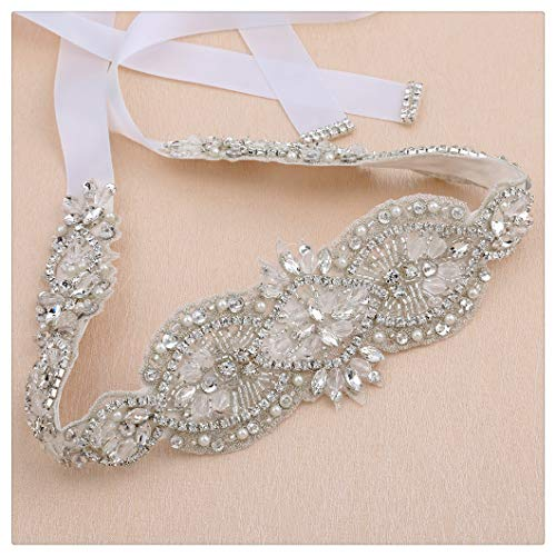 QueenDream Rhinestone Belts Men Bridesmaid Sash White Wedding Sash Bridesmaid Sashes