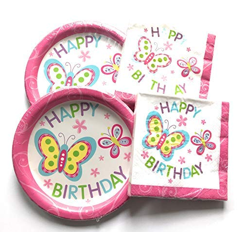 Happy Birthday Plates and Napkins Sets - Very Cute Sets of Happy Birthday Theme Paper Plates and Napkins - Multiple Themes Sizes - Great Value]()