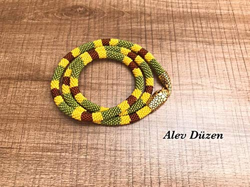 Long Snake necklace bead crochet necklace beaded rope necklace for woman handmade bead snake necklace woman jewellry