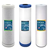 Express Water Whole House Water Filter Set Replacement Cartridges Carbon CTO KDF Sediment 5 um Micron 4.5'' x 20'' Inch