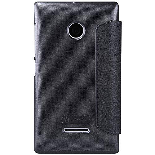 Nokia Microsoft Lumia 532 Case Cover,luckies2014® NILLKIN Sparkle PU Leather Flip Cover Case for Nokia Microsoft Lumia 532 , with original Nillkin retail box (Black)