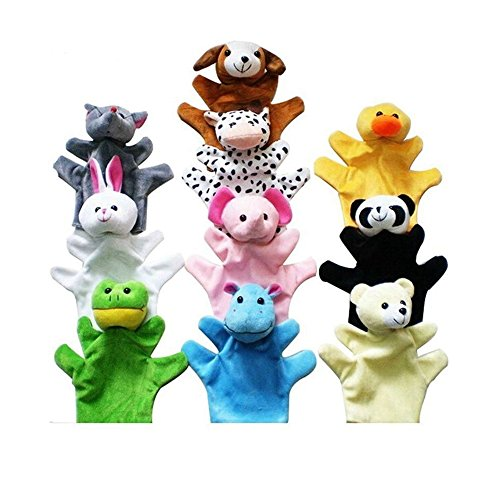 Lanlan 10 Pcs lovely Soft Plush Animal Palm Of Hand Puppets Story Props Parent-child Educational Toy For Kids Gift OPP Package 22cm by Lanlan