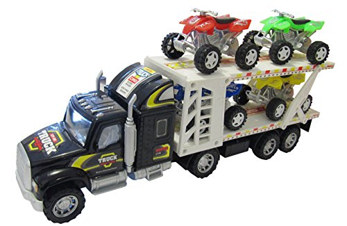 Truck Trailer Toy Car Transporter Auto Carrier 4 Cars Toy For Boys with Lights and Music (colors may vary) ()