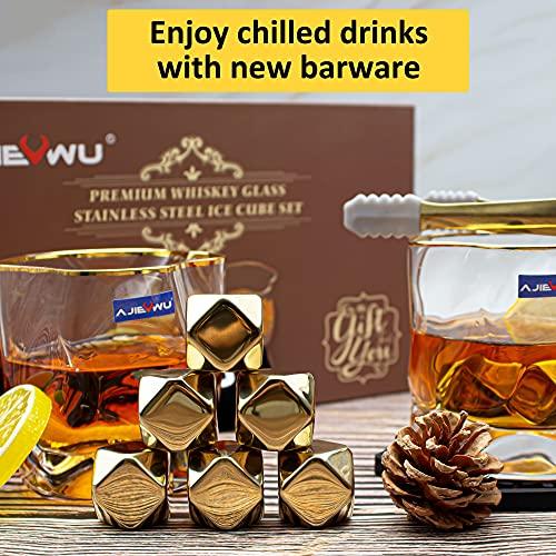 Whiskey Stones Gift Set Whiskey Rocks Ice Cubes Whiskey Chilling Stones for Men Irregular Tumbler Whiskey Glasses Set 2, 8 Gold Stainless Steel Ice Cubes Present for Men Anniversary Retirement (Gold)