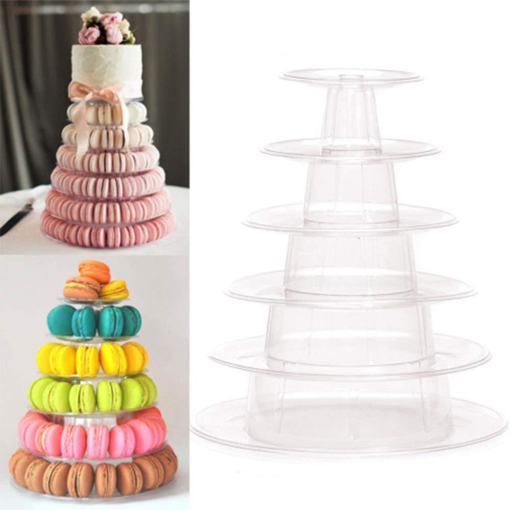 Hofumix 6 Tiers Round Macaron Tower Dessert Tower Stand Wedding Birthday Display Cake Display Rack for Wedding Birthday Party Decor