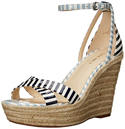 Nine West Joker sintético cuña de la sandalia White/Navy/White/Light Blue