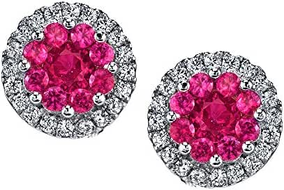 Minxwinx 925 Sterling Silver Cluster Stud Ruby Hot Pink CZ Earrings Cubic Zirconias with Pushbacks