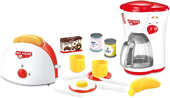 Innovative Toys Kitchen Appliances Pretend Set Toy for Kids. Coffee Maker and Toaster with Food Accessories Playset.