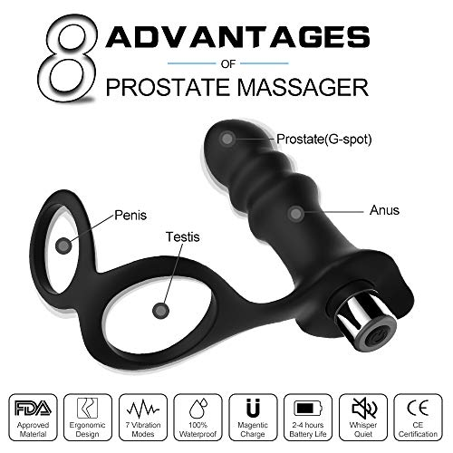 Vibrating Prostate Massager Anal Sex Toys-Pelepas Wireless Rechangeable Waterproof Silicone G-spot and P-spot Vibrator for Men Women and Couple … (Black2)