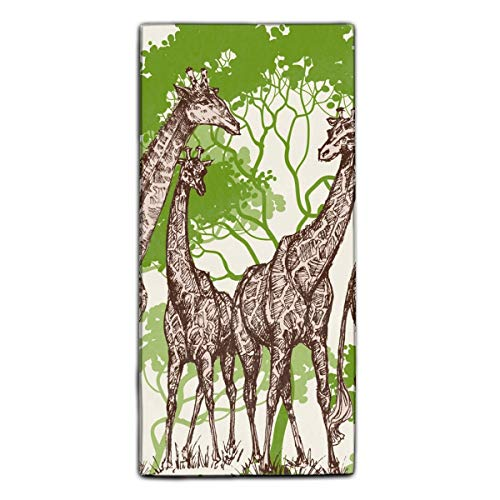 Safari Washcloth - Animal Print Safari Wallpaper Giraffe Bath Towels | Hand Towels | Washcloths Machine Washable Super Absorbent Hotel Spa Quality Luxury Towel Gift