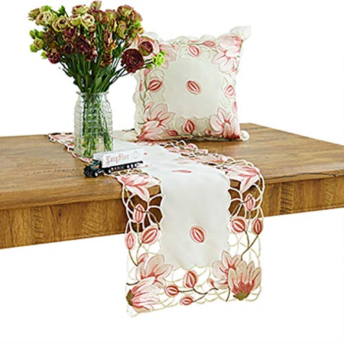 SYHK Hollow Out Table Runners for Home Office Table Cabinet Decoration Dining Room Pink Color