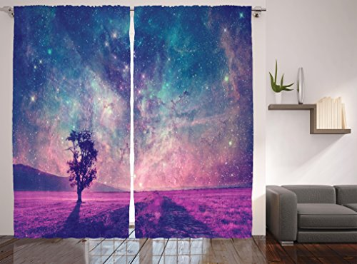 Ambesonne Modern Curtains Galaxy and Lonely Tree Decor, NASA Furnished Elements Artwork Print, Window Treatments, Living Kids Girls Room Curtain 2 Panels Set, 108 X 90 Inch, Navy Dark Magenta Black