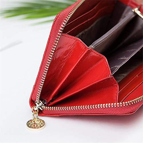 à Femmes Red Red Sac Partie de habillé véritable Luxe rabbit d'embrayage en et Longue Main Lovely Cuir Color qwP1g5U