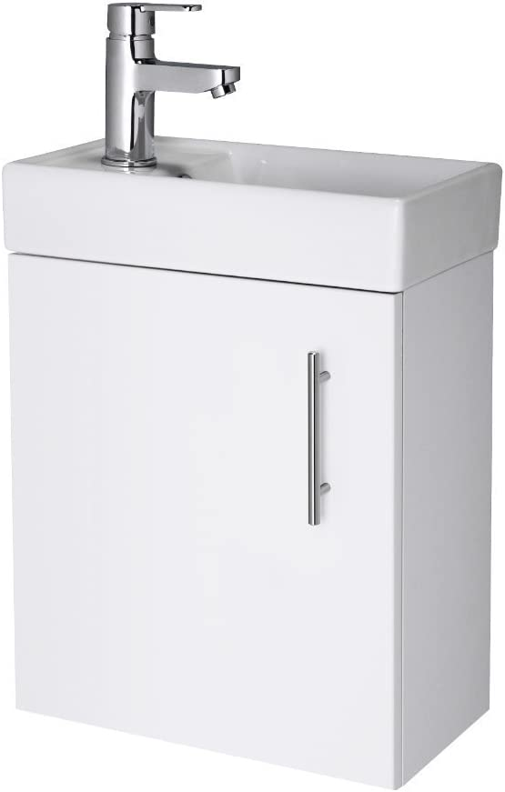 Nuie 400mm NVX182 Vault ǀ Modern Bathroom Single Soft Close Door Wall Hung Vanity Unit with 1 Tap Hole Ceramic Basin, 405mm x 520mm x 215mm, Gloss White, Set of 2 Pieces