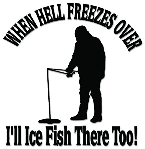 Ice Fishing Fish Hell Freezes Over Vinyl Decal Sticker For Vehicle Car Truck Window Bumper Wall Decor - [6 inch/15 cm Tall] - Gloss RED Color - Hell Freezes Ice