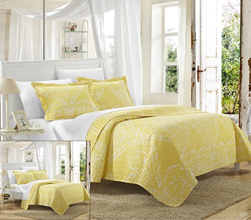 Yellow Quilt Set - Chic Home 3 Piece Napoli Reversible Printed Quilt Set, Queen, Yellow