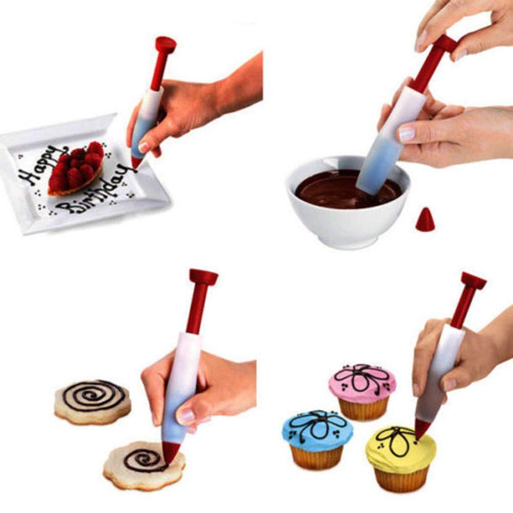 Kongnijiwa Silikon Fondant Kuchen Pen Geb/äck Zuckerglasur Schreiben Spritze Backen Dekor DIY Tools Kuchen Feder Farben