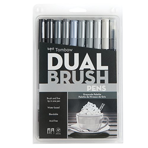 Tombow 56171 Dual Brush Pen Art Markers, Grayscale, 10-Pack. Blendable, Brush and Fine Tip (Acid Free Pens)