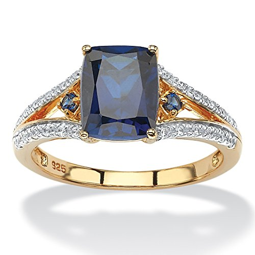 Midnight Blue Sapphire (Emerald-Cut Lab Created Blue Sapphire and CZ 18k Gold over .925 Sterling Silver Split-Shank Ring Size 6)