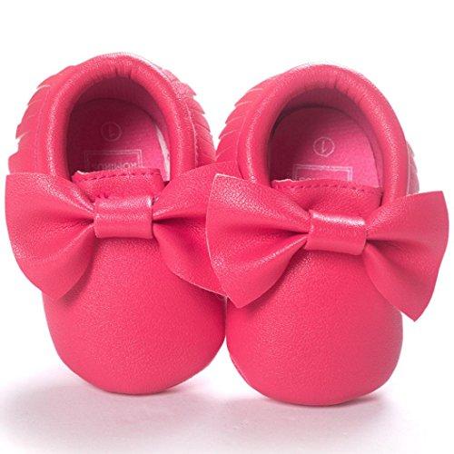 Hunpta Baby-Krippe Quasten Bowknot Schuhe Sneakers Casual rutschfeste Schuhe Lauflernschuhe Krabbelschuhe Babyschuhe Schuhe (13, Silber) Hot Pink