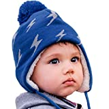 Twinklebelle Toddler Kids Winter Earflap Beanie Hat (L: 2-6 Years, Lighting Bolt)