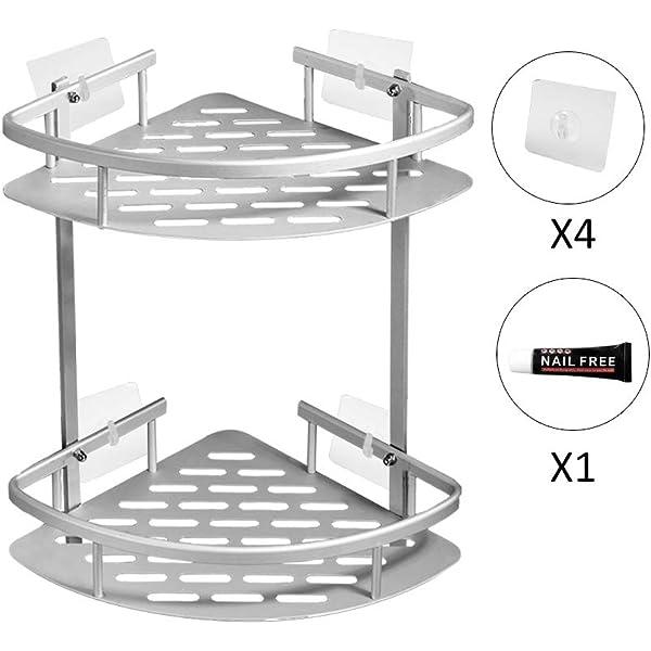 ADOVEL baño Estante estantería de Esquina, Estantes de Ducha de Aluminio Espacial Perforado Entramado de baño Muebles de baño: Amazon.es: Hogar