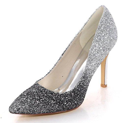 L 0608 d'été YC 44 Court Court de Party Femmes Mariage Closed Paillettes Heel Bridal Chaussures pour High Black Shoes Toe xzz0rdYOqw