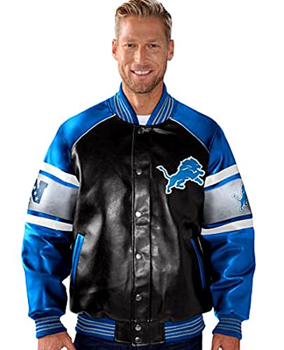 Varsity Pleather Jacket - G III Detroit Lions Faux Leather Varsity Jacket Pleather (L)