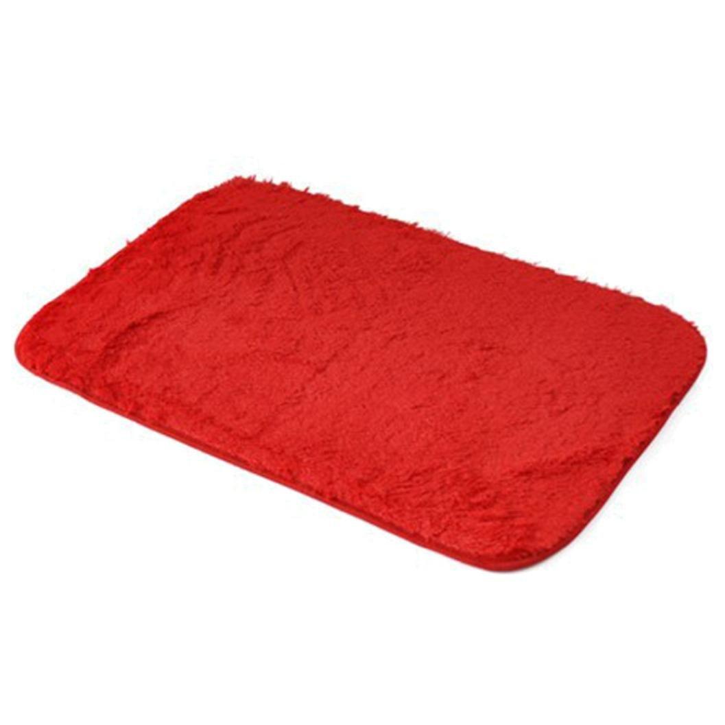 Memory Foam Shag Bath Mat Makaor Luxurious Absorbent Soft Bathroom Shower Rug Floor Non Slip Mat (Red, Size: 40cmx 60cm/15.8''x23.6'')