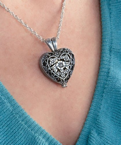 Cathedral Art Pet Memorial Urn Locket-heart Shaped-silver Tone Filigree … by Cathedral Art (Image #5)