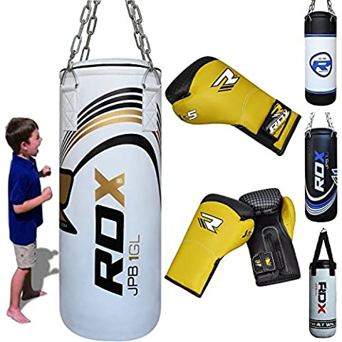 RDX Kids Punching Bag Filled Set Junior Kick Boxing Heavy MMA Training Youth Gloves Punch Mitts Hanging Chain Ceiling Hook Muay Thai Martial Arts ()