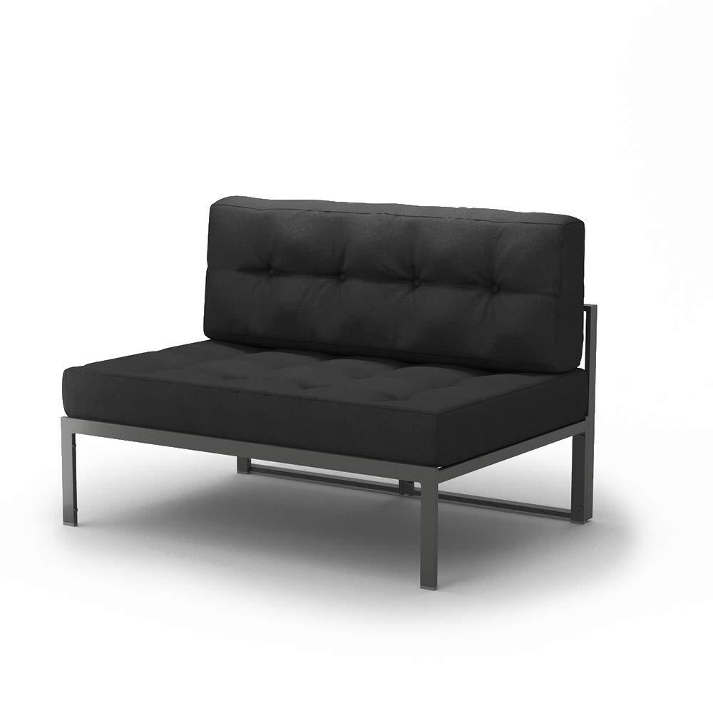 OSKAR Alu Lounge Gartenmöbel inkl. Palettenkissen Gartenlounge Sitzgarnitur Sitzgruppe Anthrazit