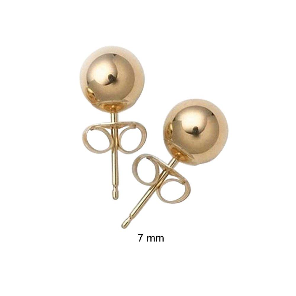 Bling Jewelry Hollow Bead 14k Yellow Gold Ball Stud Earring 7mm SSTR-E12-7mm
