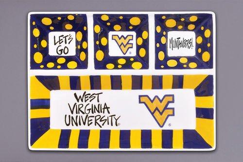 West Virginia Mountaineers Ceramic - Magnolia Lane Collegiate Ceramic 4 Section Divided Tray (West Virginia Mountaineers)