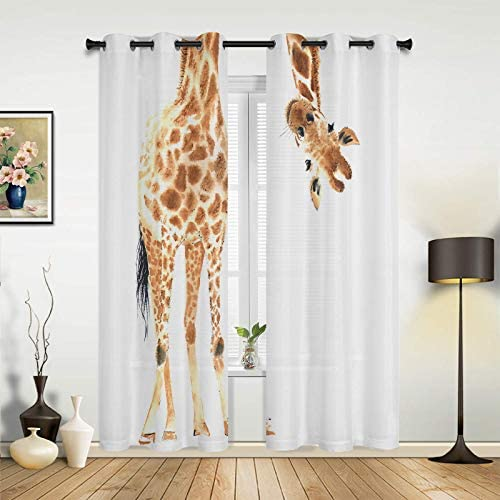 Fandim Fly Grommet Window Curtain Wild Animal Watercolor Giraffe Window Curtains Draperie