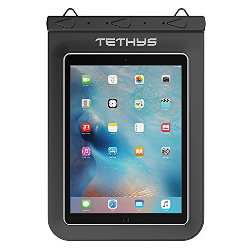 Universal Waterproof Case, TETHYS Waterproof Dry Bag for Outdoor Activities Fit iPad Pro 9.7, iPad Air 2, iPad 2 3 4, Samsung Tab S 9.7, Tab E 9.6 and Other Tablets up to 10 inches - Black