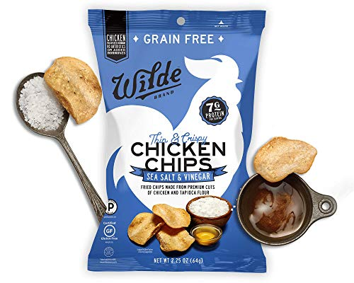 Wilde Chicken Protein Chips Sea Salt & Vinegar, Made with Real Chicken, Thin and Crispy, Paleo-Certified Diet, Keto Snacks, Low-Carb, Healthy Fats, Low Sugar, Gluten-Free, Grain-Free, Non-GMO (4-Pack)