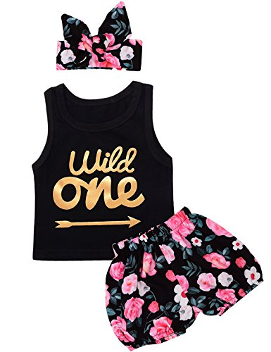 3Pcs Outfit Set Baby Girls Wild One Floral Short Set (Black Wild One, 12-18 Months) ()