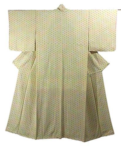 故障倍率スローリサイクル 着物 小紋 総柄 正絹 袷 麻の葉模様 裄62.5cm 身丈153cm