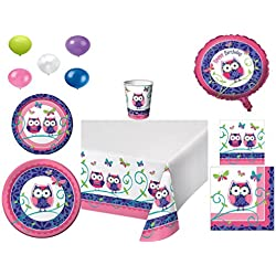 Disposable Plates/Napkins/Cups/Tablecloth/Balloons Owl Pal Happy Birthday Themed Party Pack, 8 Piece Bundle