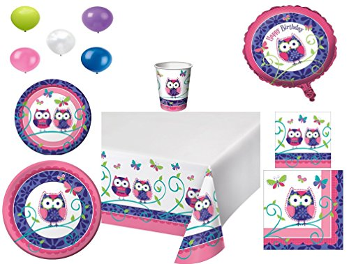 Disposable Plates/Napkins/Cups/Tablecloth/Balloons Owl Pal Happy Birthday Themed Party Pack, 8 Piece (Owl Themed Party Decorations)