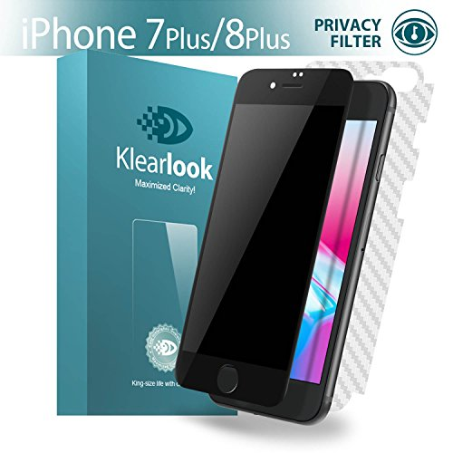 Klearlook [Privacy Series] Anti-Spy Filter Featured Front 9H Tempered Glass Screen Protector and Back Carbon Fiber Flim for Apple iPhone 7 Plus, iPhone 8 Plus Black Frame (1+1 (Back Screen Protector Guard)